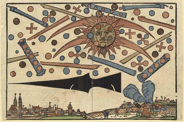 batalla de ovnis medieval ilustracion