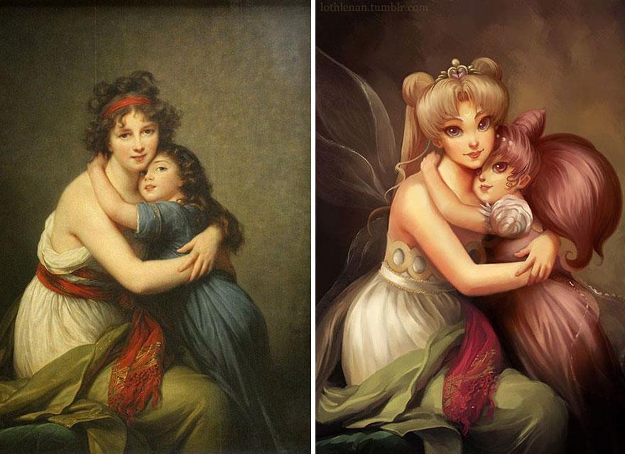 pinturas clasicas con personajes cultura pop (1)