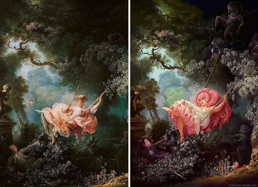 pinturas clasicas con personajes cultura pop (5)