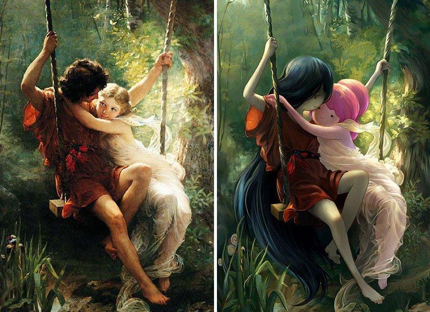 pinturas clasicas con personajes cultura pop (7)