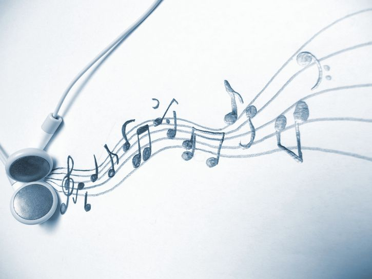 dibujo notas musicales auriculares
