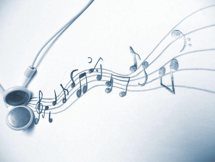 dibujo notas musicales auriculares
