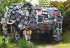 estatua elefante monitores