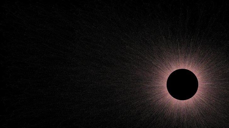 representacion de agujero negro en el espacio