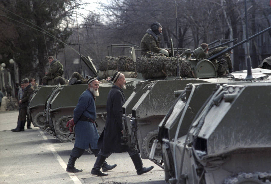 dushanbe riots walking by tanks