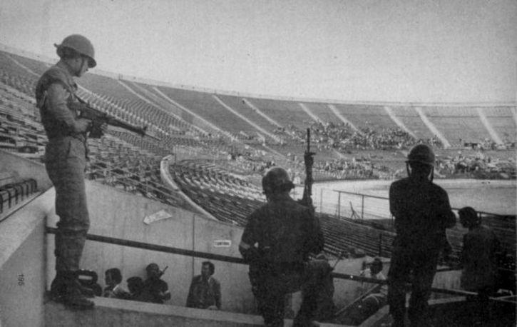 militares en el estadio nacional de chile 1973