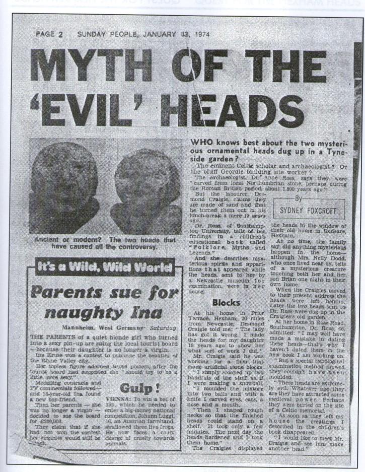 el mito de las cabezas malditas hexham 1974