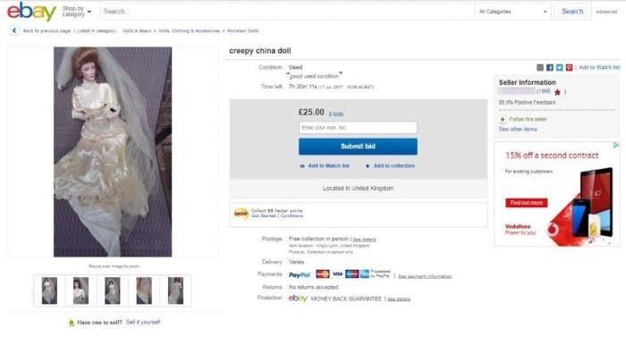 subasta de la muñeca en ebay