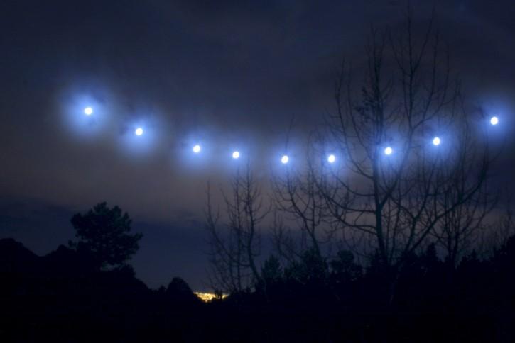 formacion de luces en el cielo