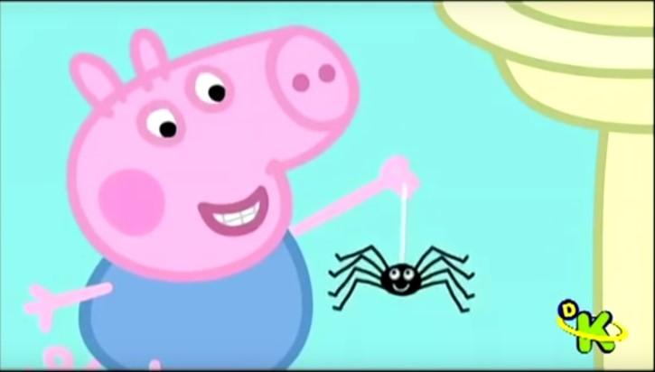 george de peppa pig sostiene araña