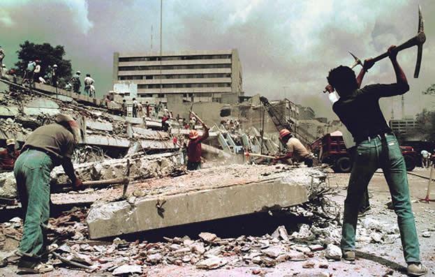 sismo 1986 mexico voluntarios trabajando
