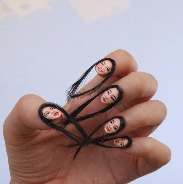 uñas con cabello (2)