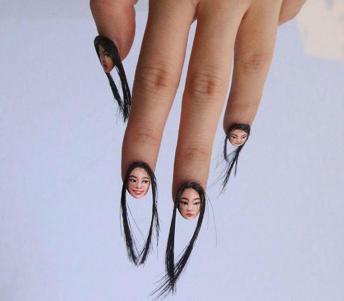 uñas con cabello (3)