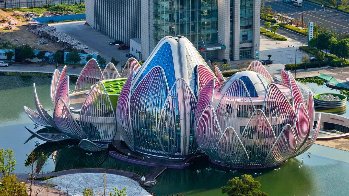 edificio con forma de loto en Wujin China