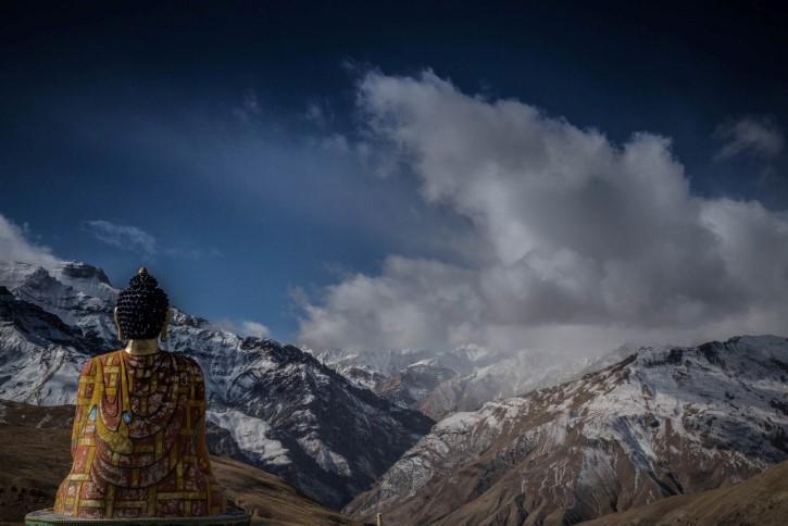figura de buda en Valle Spiti, Kaza, India