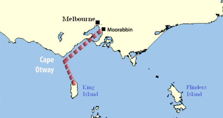 ruta de Fred Valentich entre Moorabbin y King Island