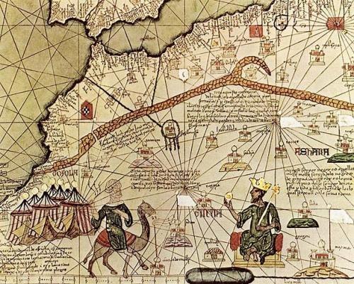 Mapa Musa Mansa retrato sosteniendo pepita de oro