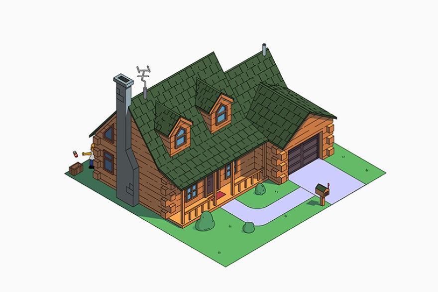 estilo casa los simpson cabaña