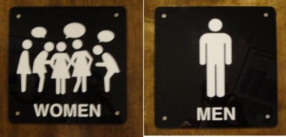 hombres y mujeres cartel de baño