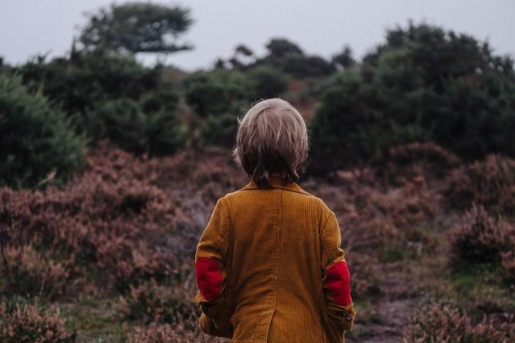 niño observando el bosque