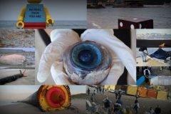 objetos extraños arrastrados a la playa