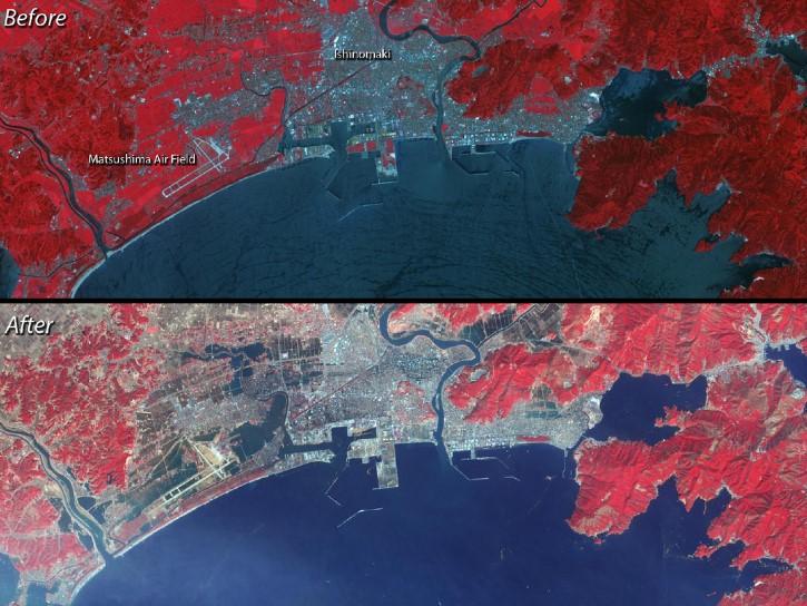 vista aerea del daño provocado en Ishinomaki,