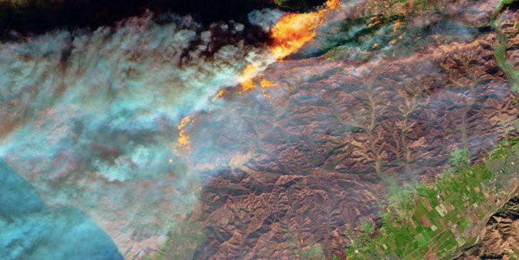 incendios forestales california satelite imagen