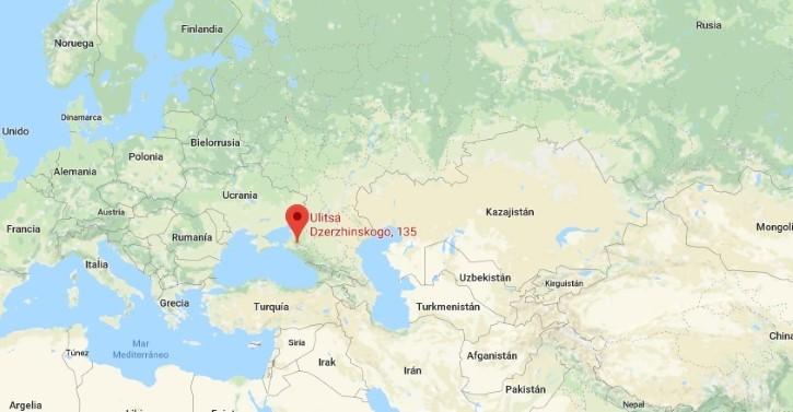 ubicacion de la ciudad de Krasnodar en Rusia