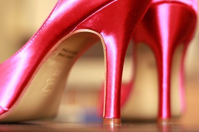 zapatillas tacon alto rosas