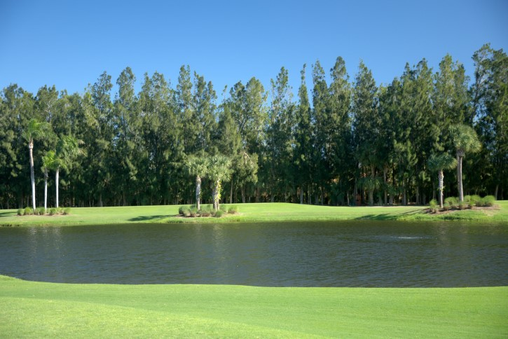 lago en un campo de golf