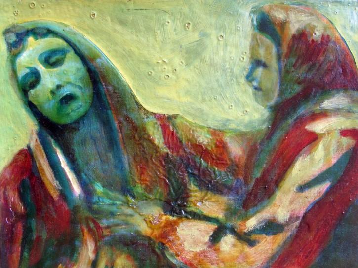 pintura dos personas interactuando