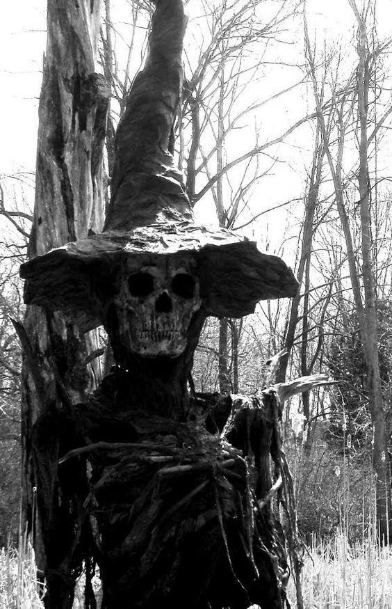 Espantapajaros calavera bruja bosque