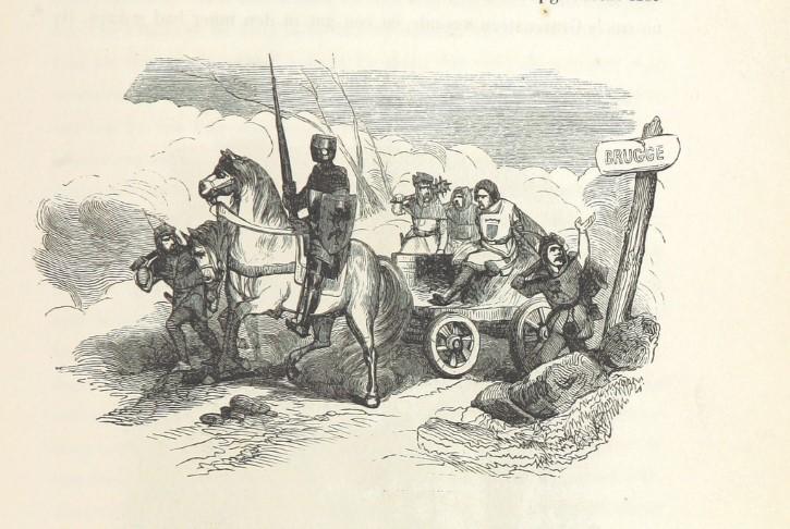 Viaje de un caballeor medieval ilustracion