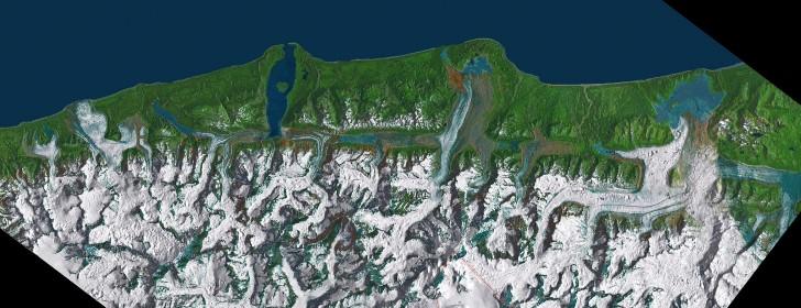 Vista satelital de la falla fairweather