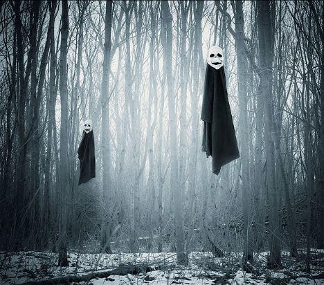 Fantasmas flotando en el bosque