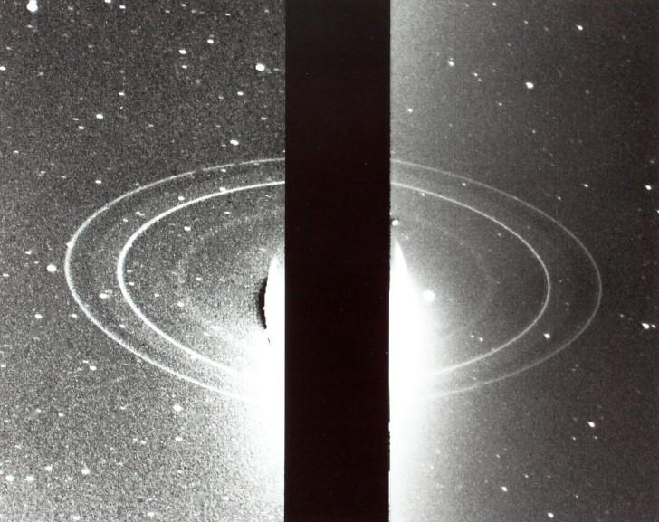 Voyager imagen de los anillos de neptuno
