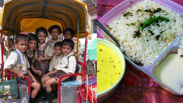 Prima colazione della scuola in India kadhi