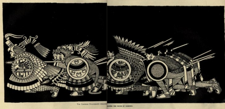 Guerreros aztecas a la carga
