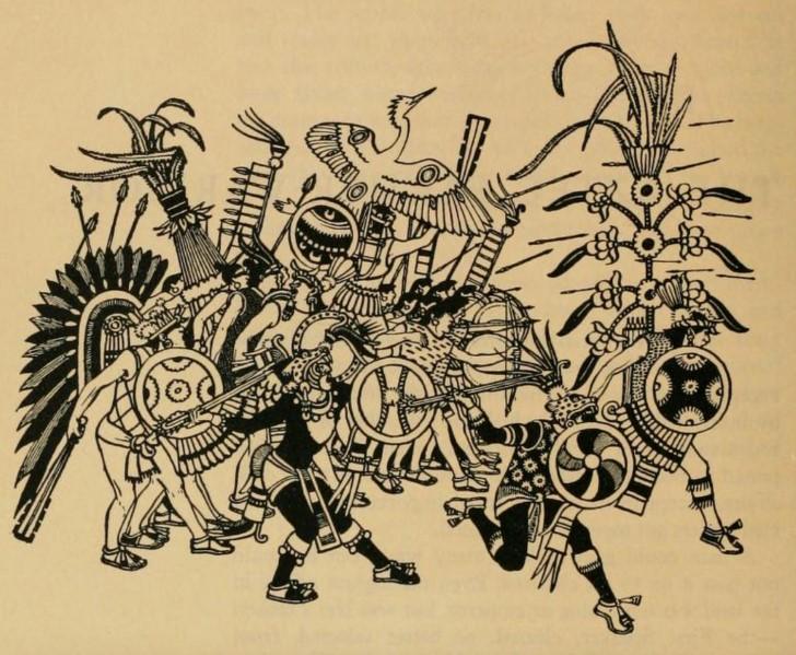 Guerreros aztecas en batalla