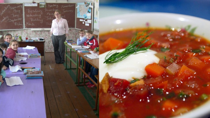 Colazione della scuola borsch Ucraina