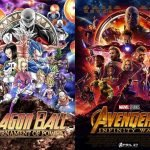 Dragon ball tournament of power vs avengers infinity war posters