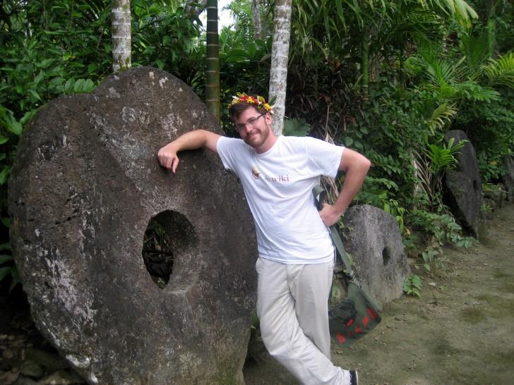 Roca dinero en la isla yap micronesia