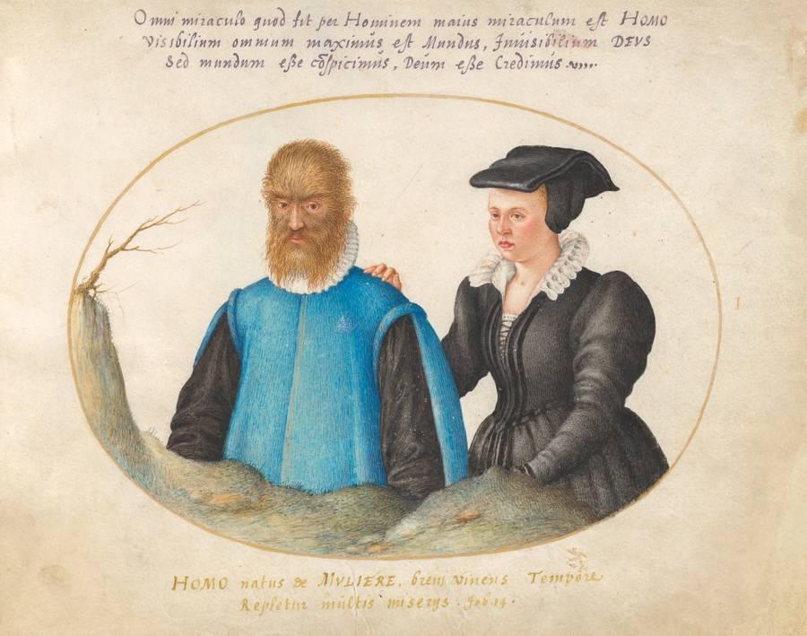 Petrus gonsalvus y lady catalina ilustracion