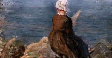 Pintura campesina triste en la costa