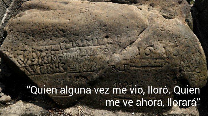 Rocas del hambre inscripciones