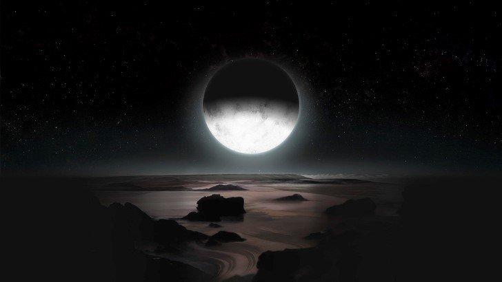 Pluton a la luz de la luna