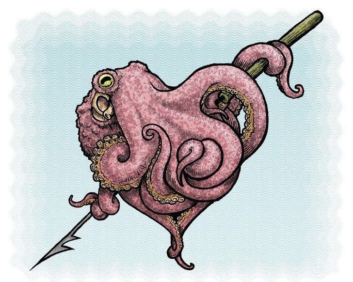 Pulpo en forma de corazon