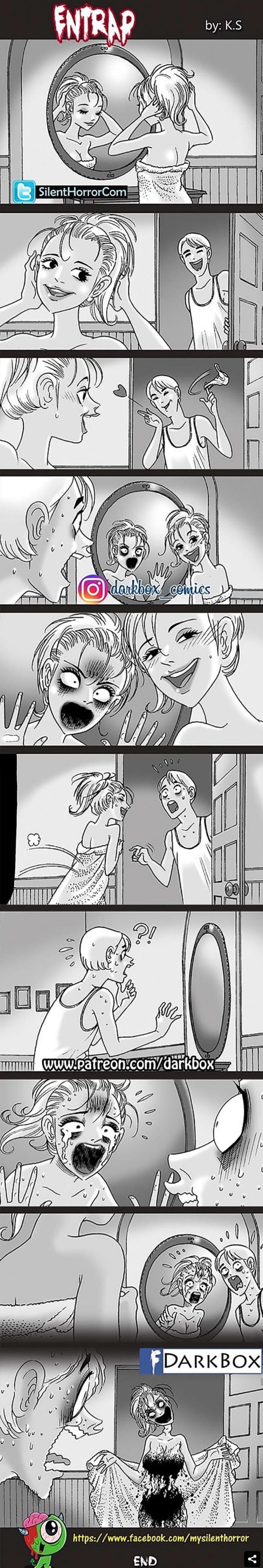 comic de terror atrapada en el espejo