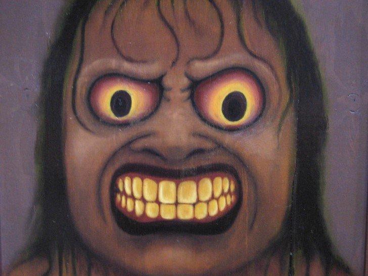 Terror dibujo rostro aterrador