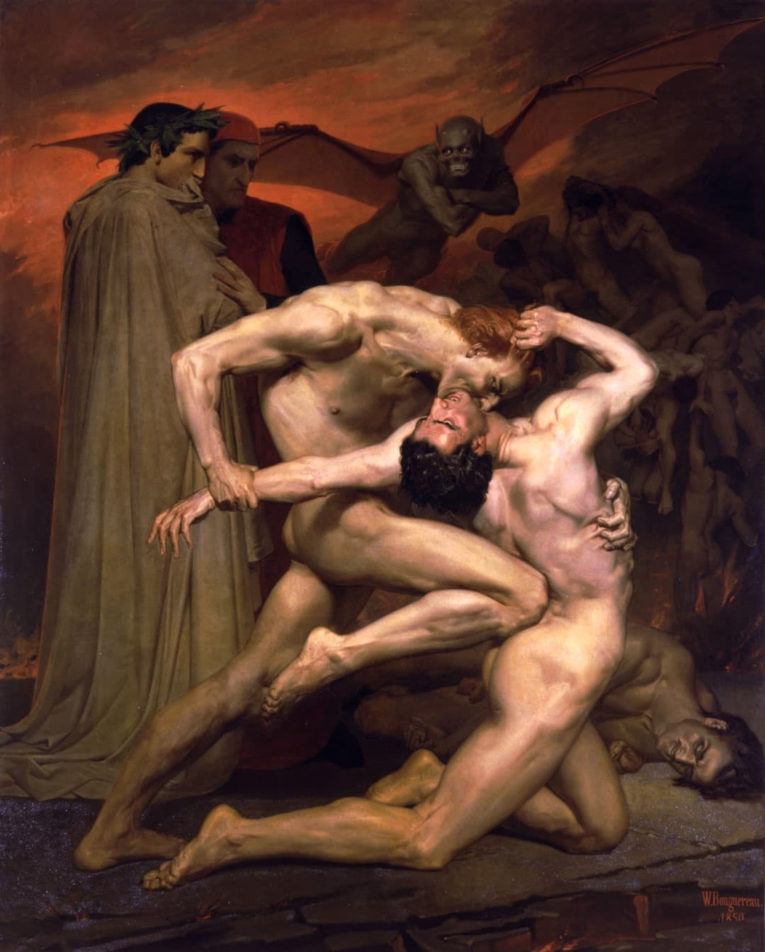 de William Adolphe Bouguereau dante y virgilio en el infierno